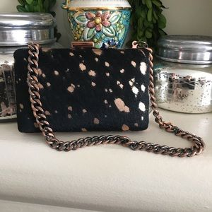 Leather hair hide clutch Black and Copper